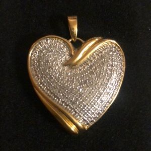 Diamond Heart Pendant in Sterling Silver Vermeil